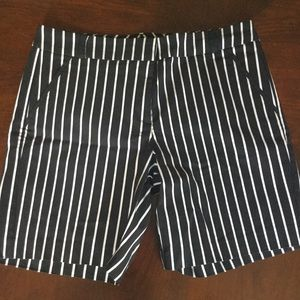Black and white stripe Bermuda shorts